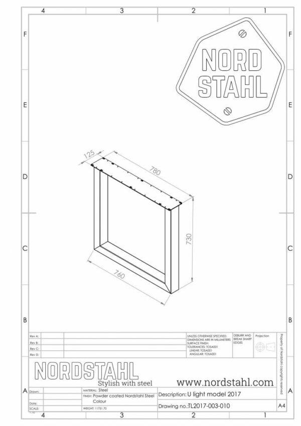 Nordstahl U leg technische tekening