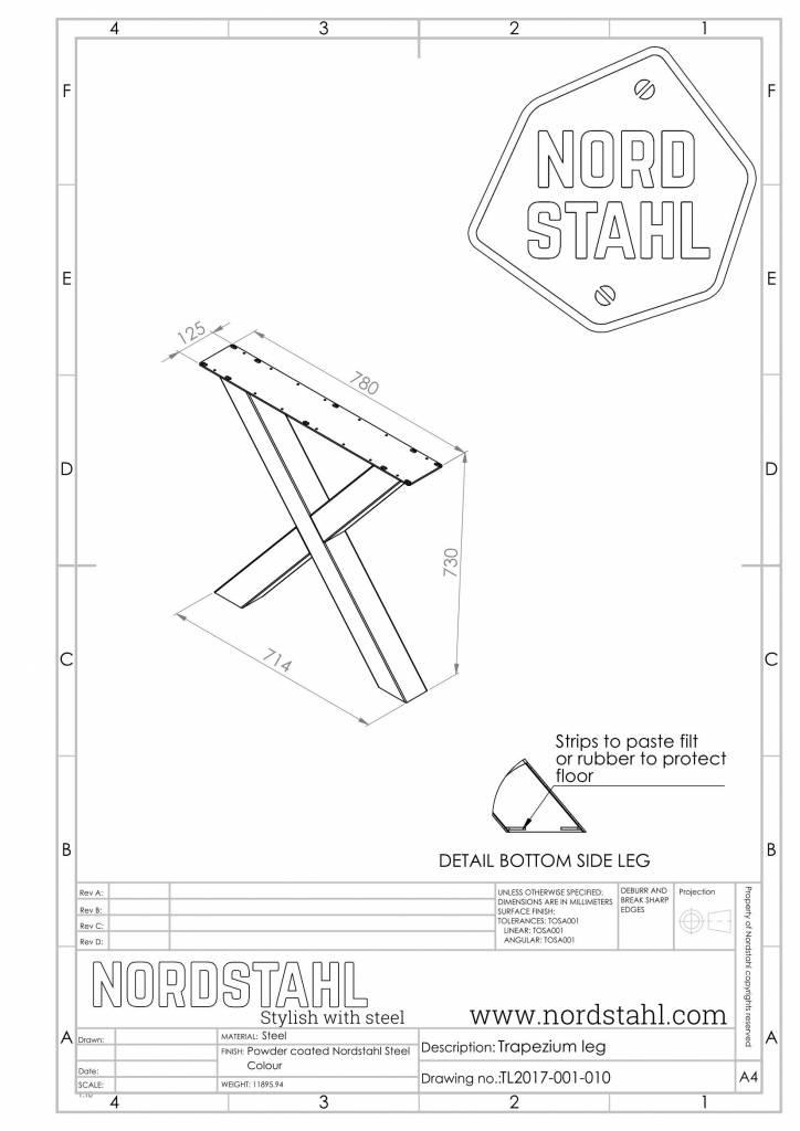 Nordstahl X leg technische tekening