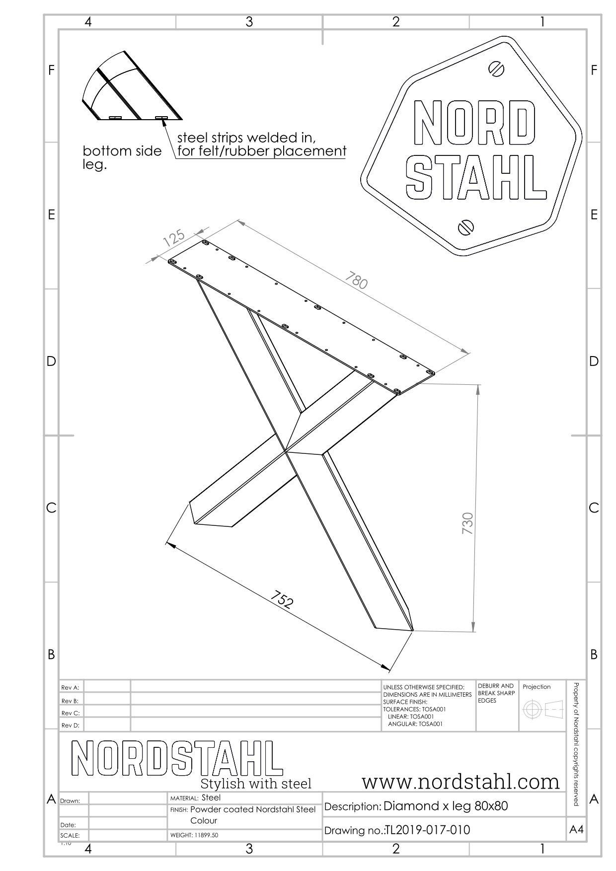 Nordstahl Diamond X leg technische tekening