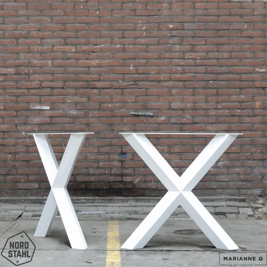 Nordstahl Diamond X leg wit 2 stalen tafelpoten