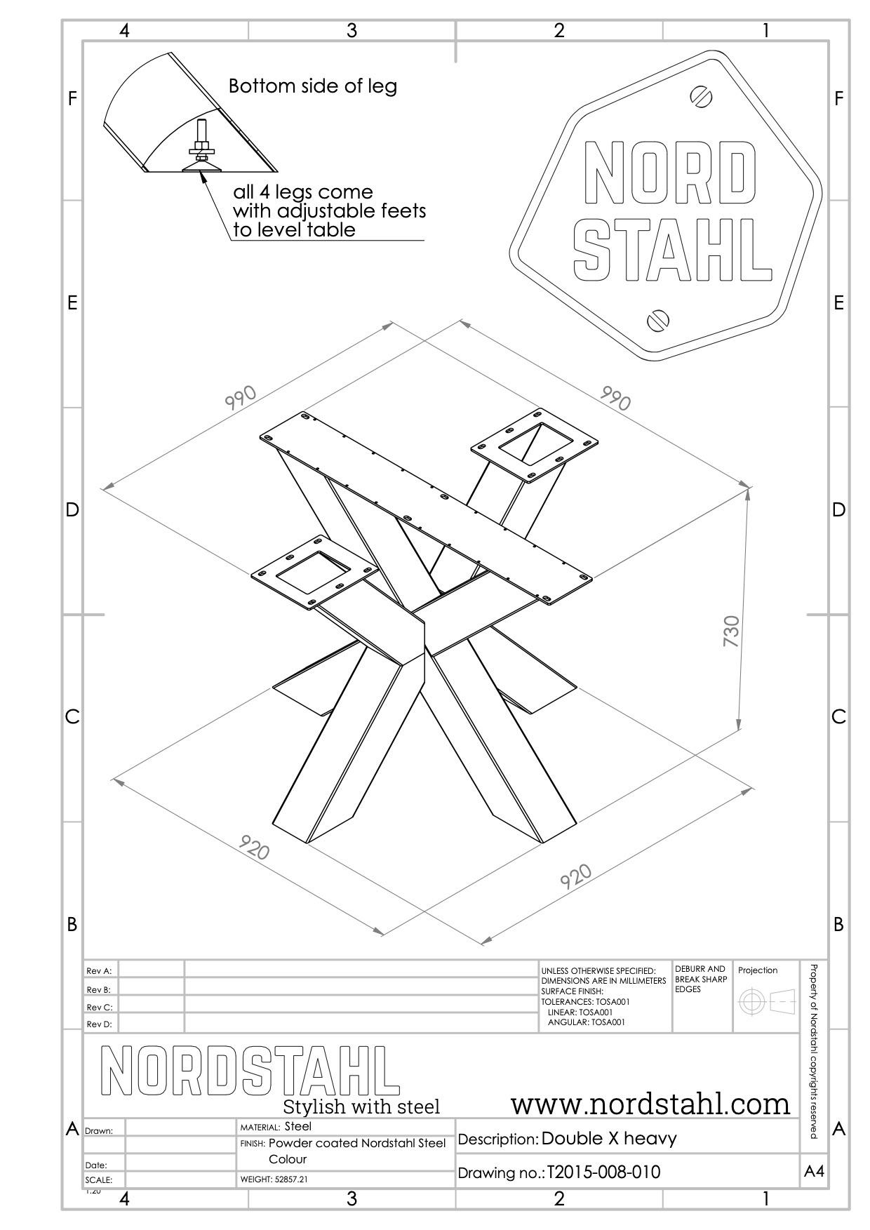 Nordstahl Double X leg heavy technische tekening