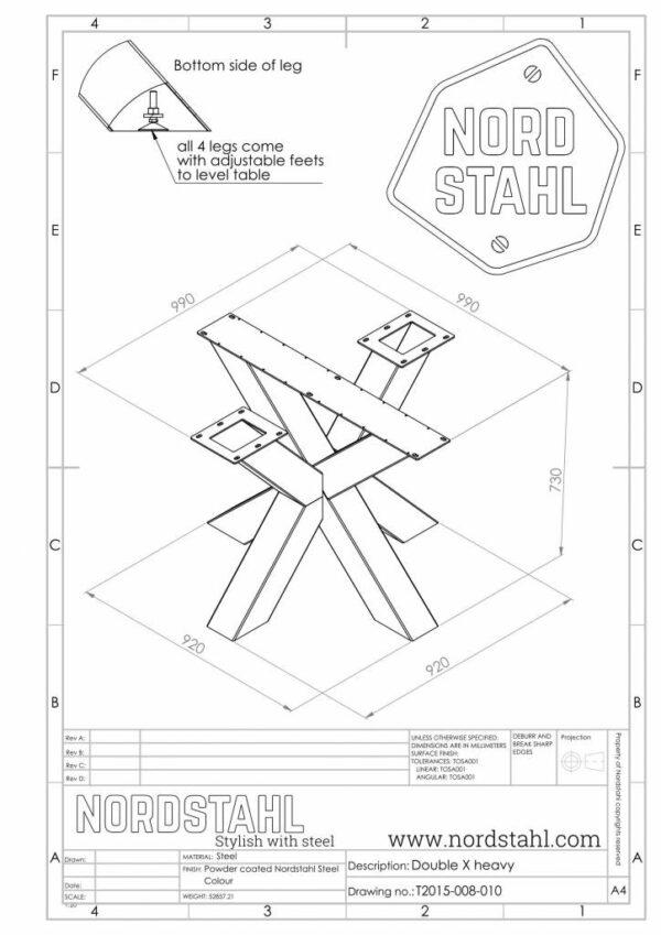 Nordstahl Double X leg technische tekening