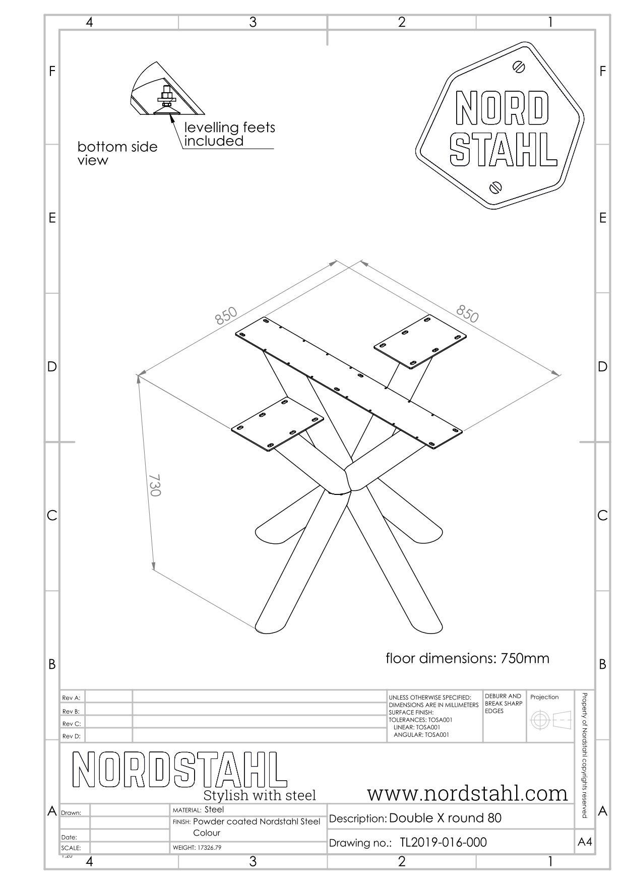 Nordstahl Double X round technische tekening
