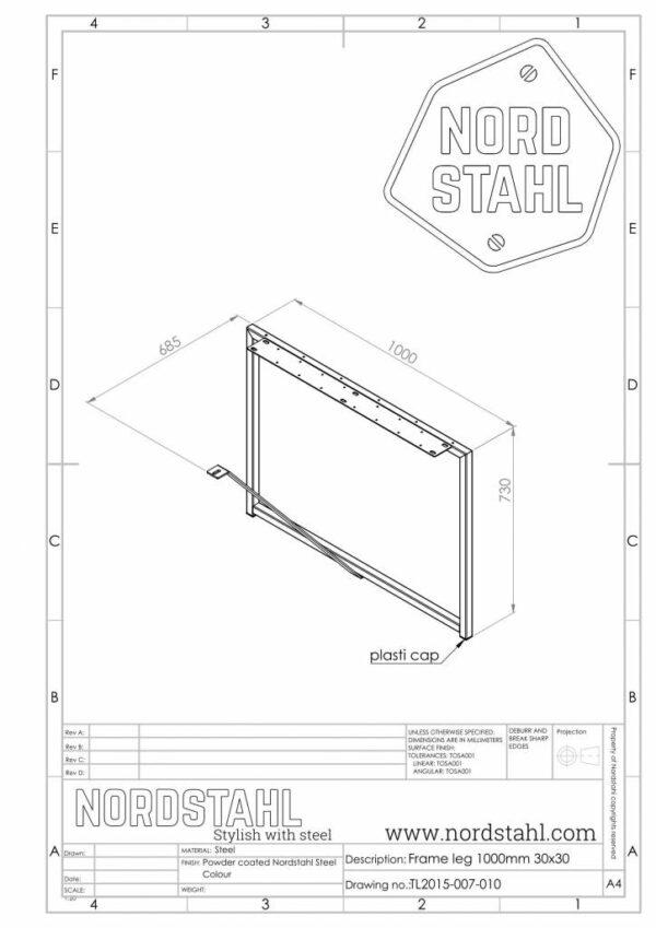 Nordstahl Frame leg technische tekening