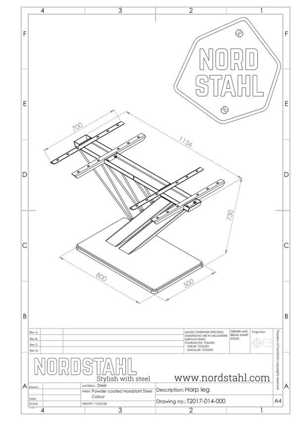 nordstahl harp leg technische tekening