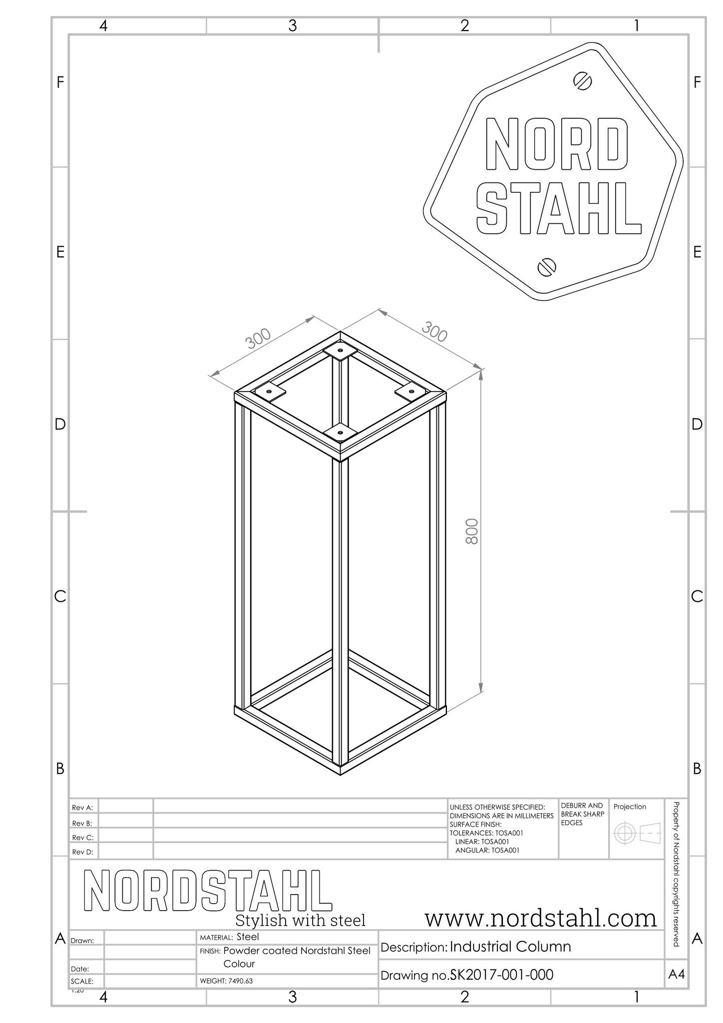 Nordstahl industrial column technische tekening