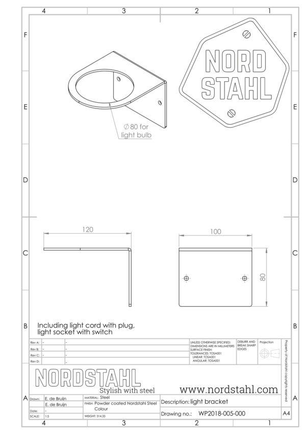 Nordstahl Light Bracket technische tekening