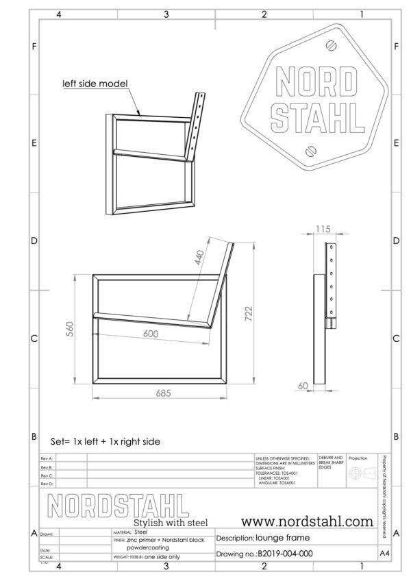 Nordstahl koungeset frame technische tekening
