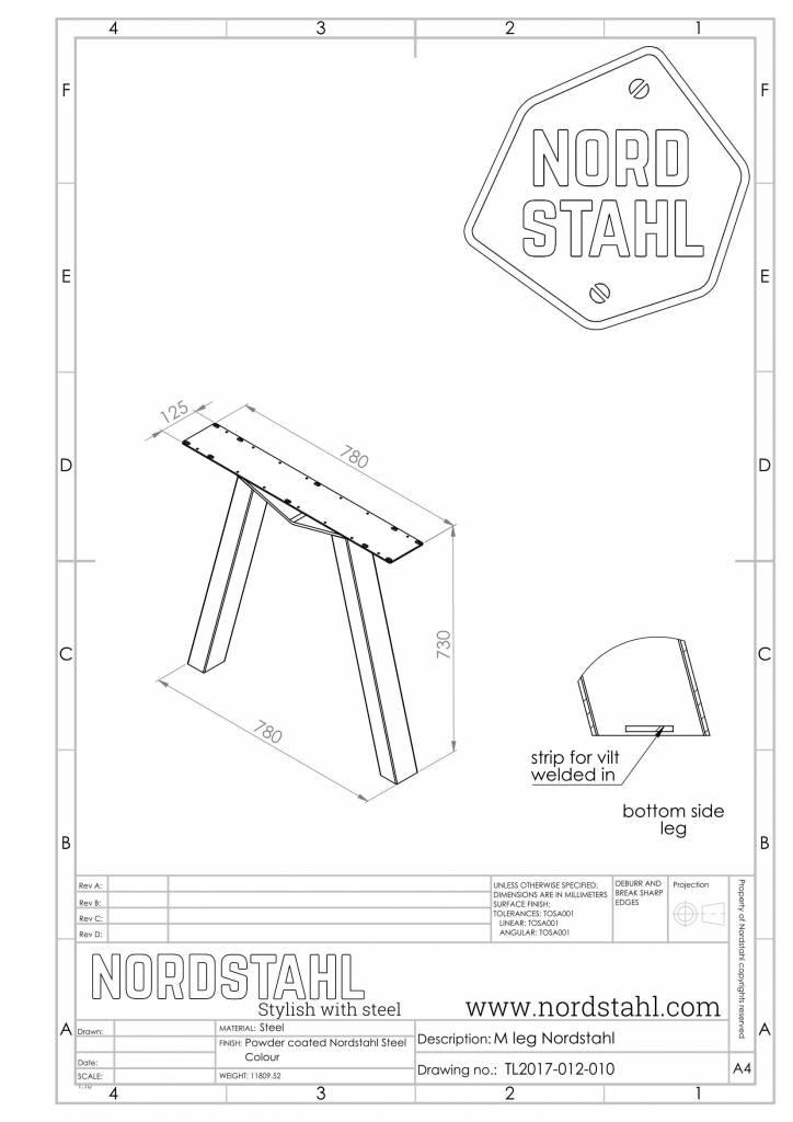 Nordstahl M leg technische tekening