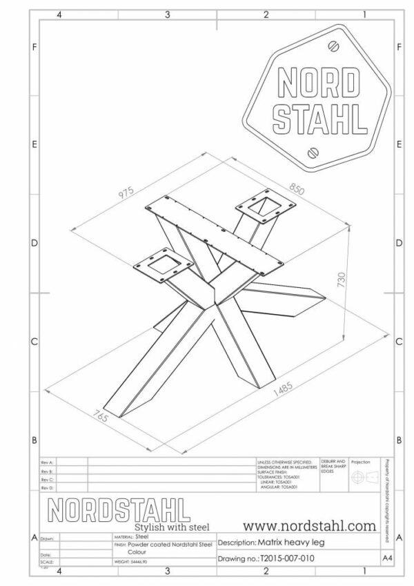 Nordstahl Matrix leg heavy technische tekening