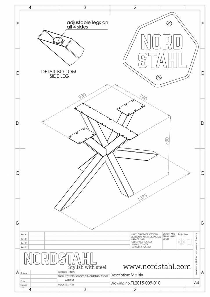 Nordstahl Matrix leg technische tekening