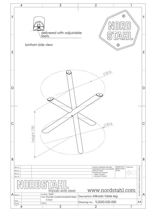 Nordstahl Mikado leg technische tekening