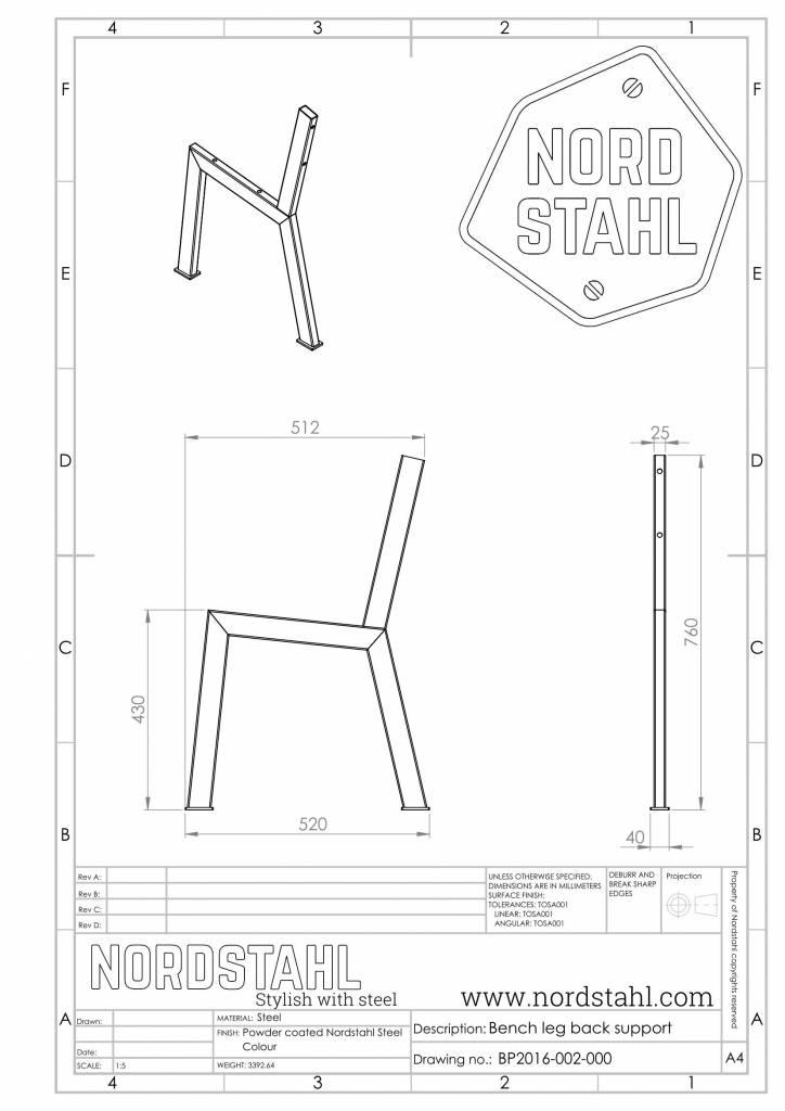 Nordstahl N benchleg technische tekening