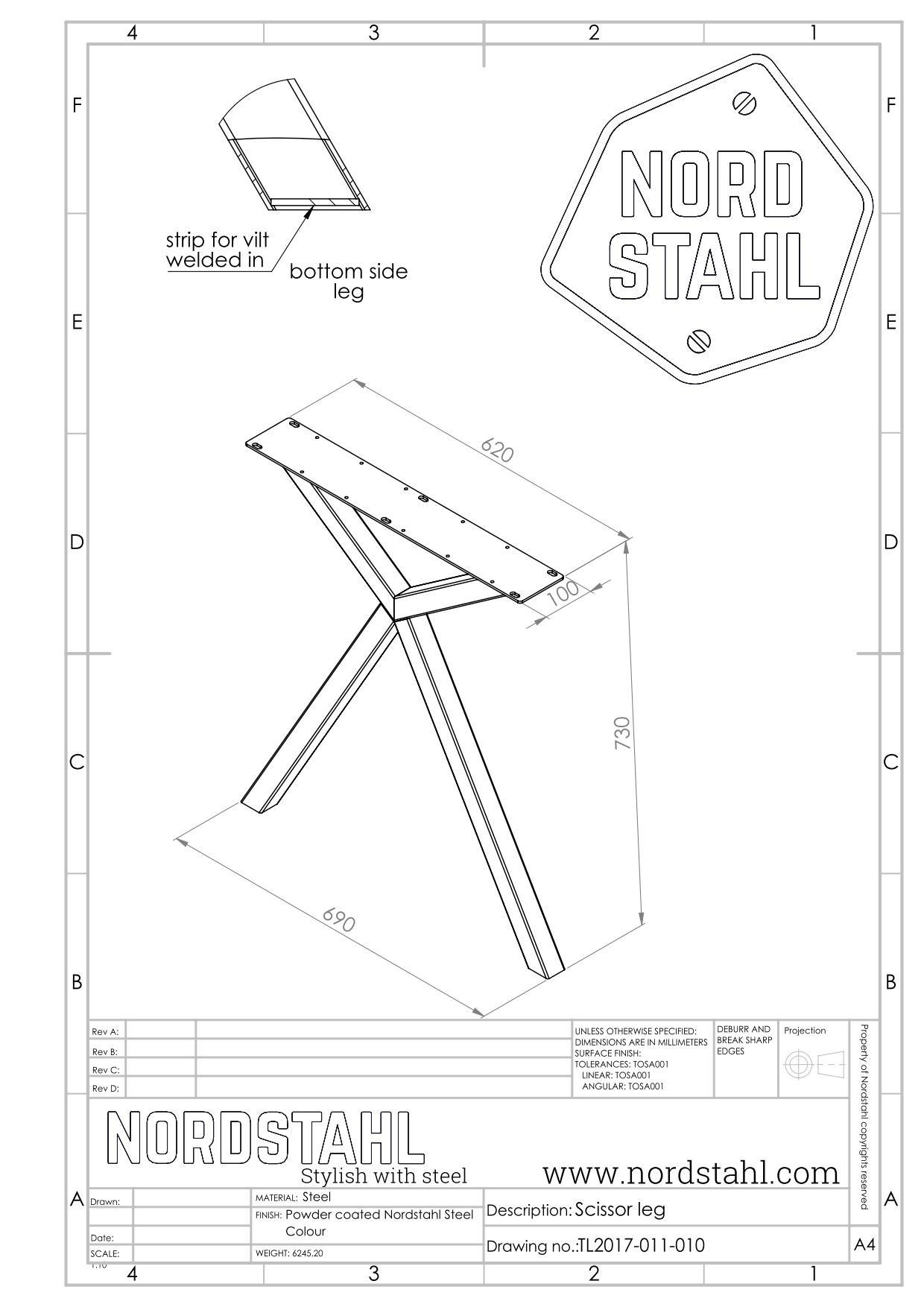 Nordstahl Scissor leg technische tekening