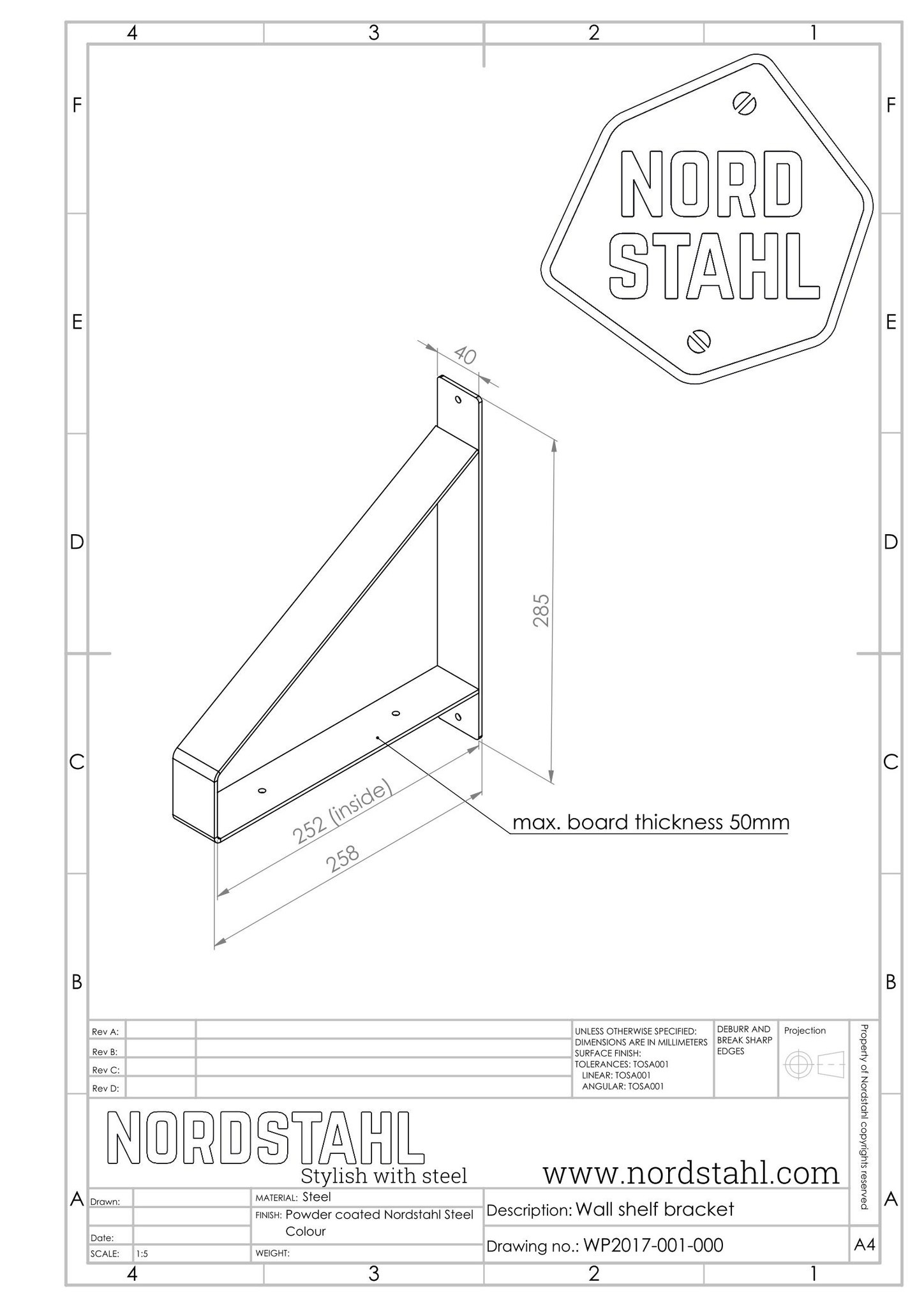Nordstahl Shelf Brackets technische tekening