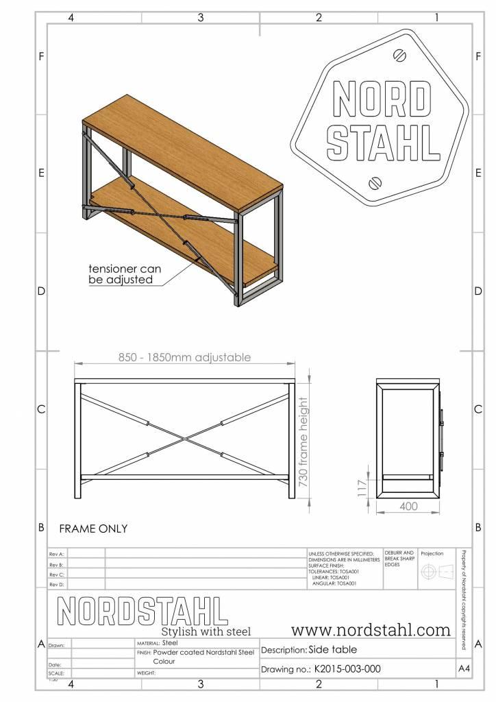 Nordstahl Sidetable cabinet frame technische tekening