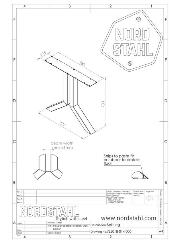 Nordstahl Split leg technische tekening