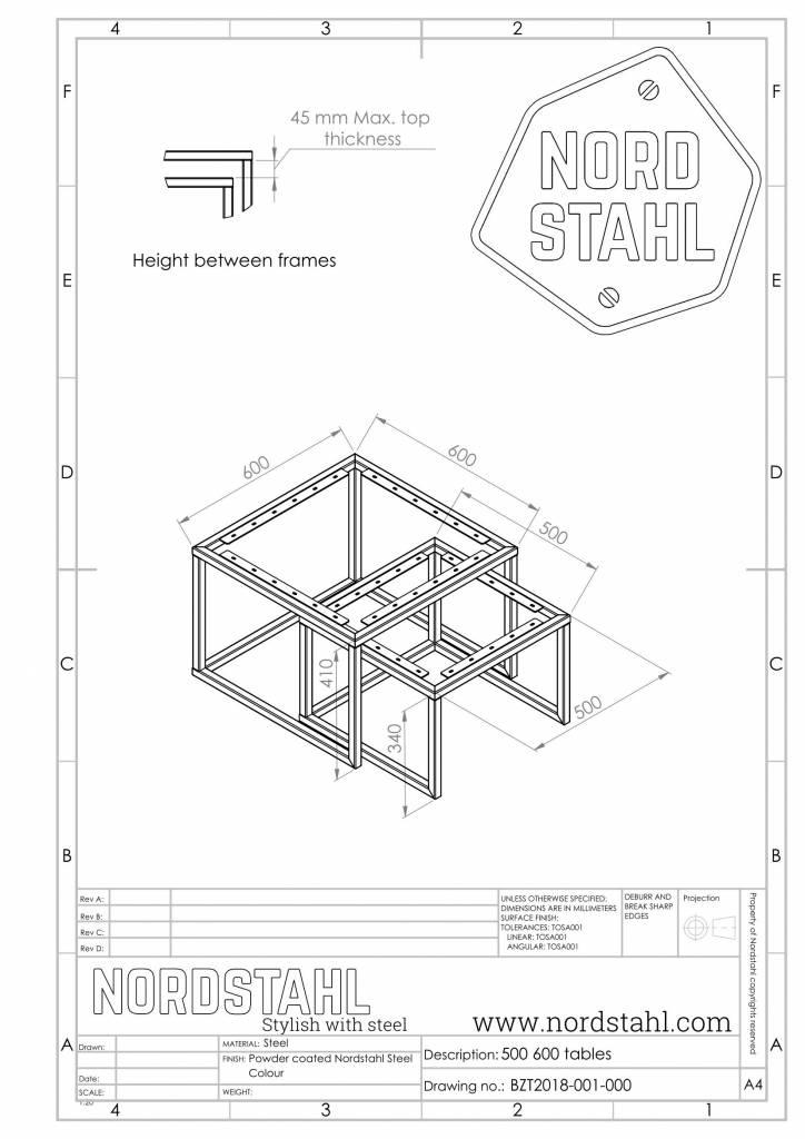 Nordstahl Square frames leg technische tekening