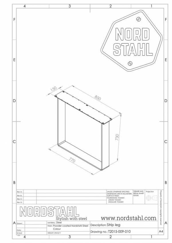 Nordstahl Strip leg technische tekening
