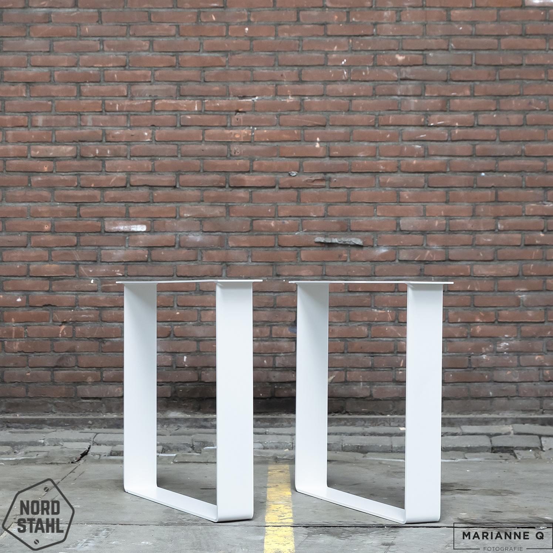 Nordstahl Strip leg wit 2 stalen tafelpoten