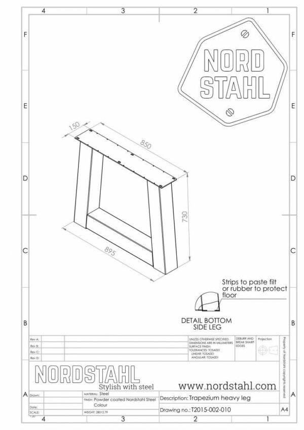 Nordstahl Trapezium leg heavy technische tekening
