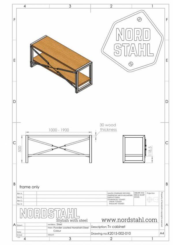 Nordstahl TV cabinet frame technische tekening