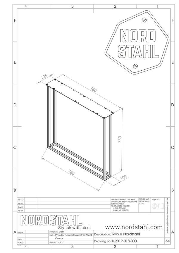Nordstahl Twin U leg technische tekening