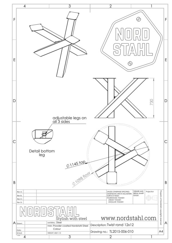 Nordstahl Twist Circle leg heavy technische tekening