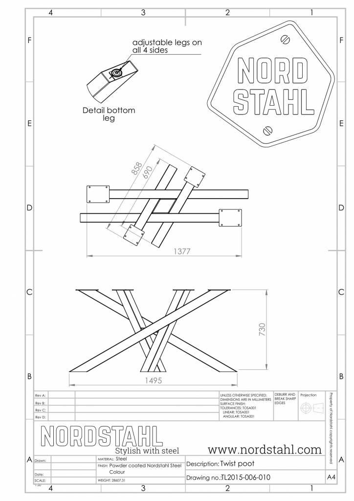 Nordstahl Twist leg technische tekening