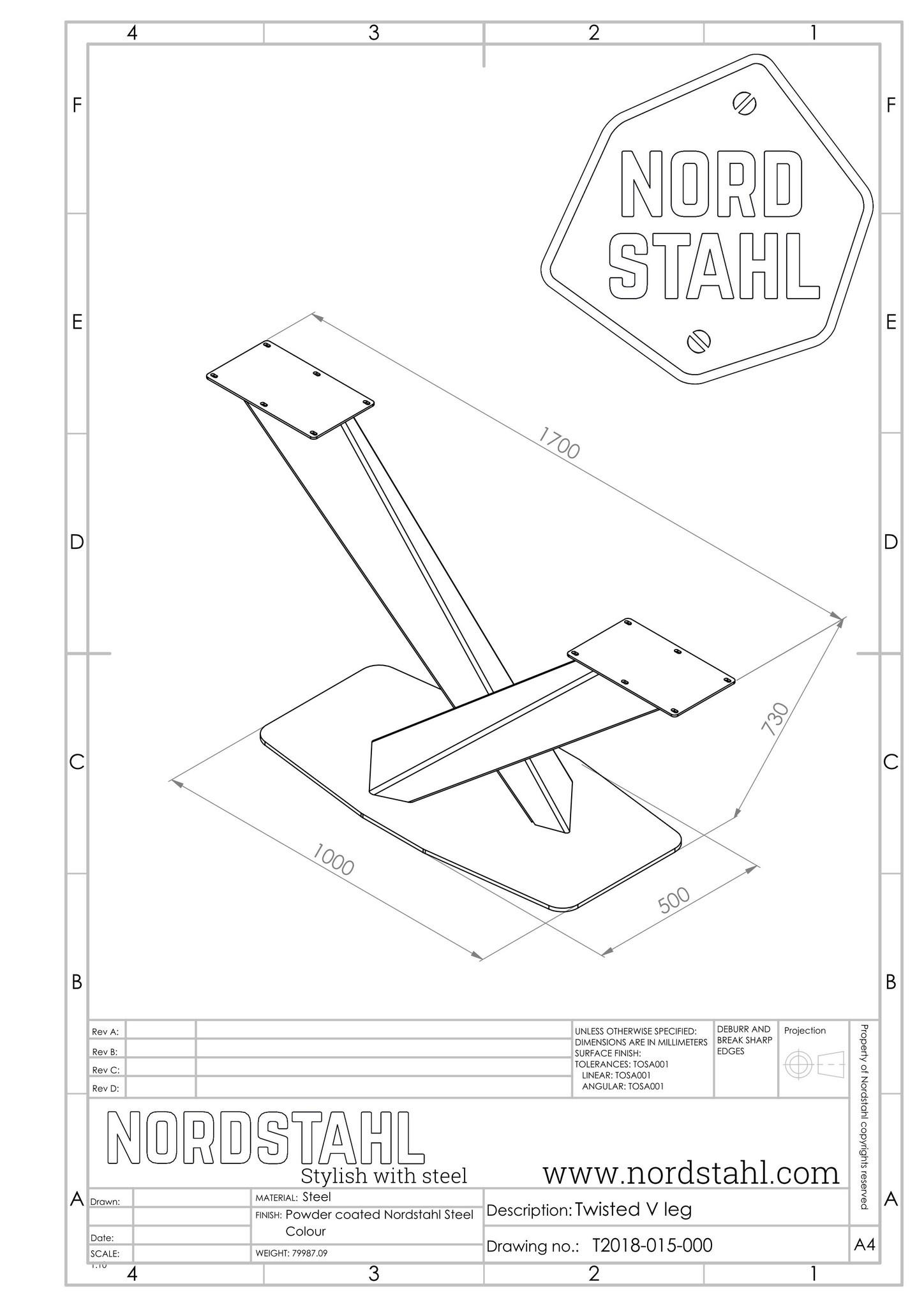 Nordstahl Twisted V leg technische tekening