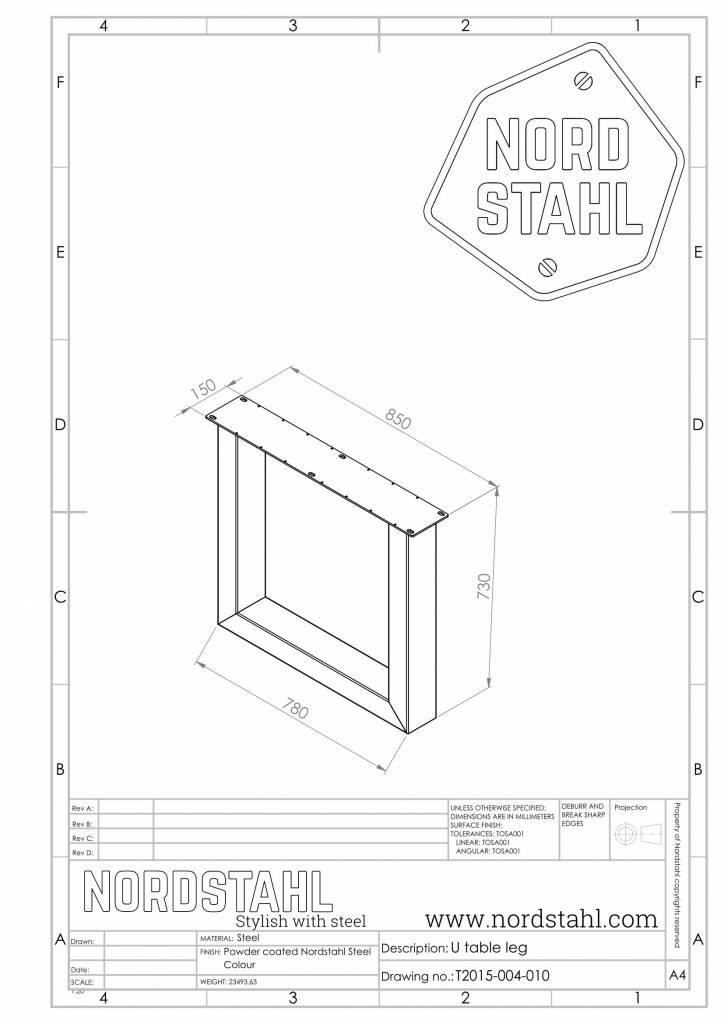 Nordstahl U leg heavy technische tekening