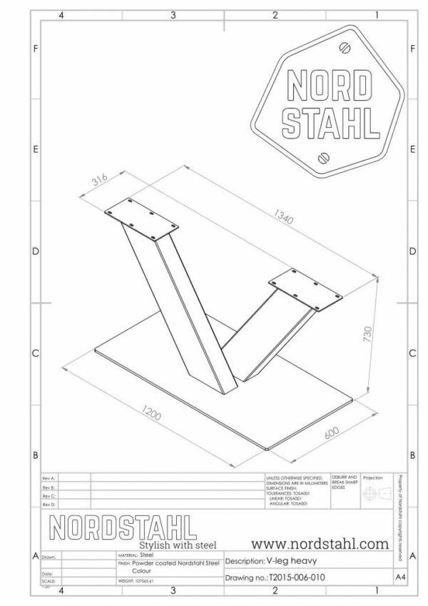 Nordstahl V leg heavy technische tekening