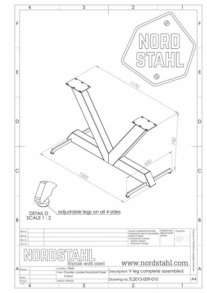 Nordstahl V leg technische tekening