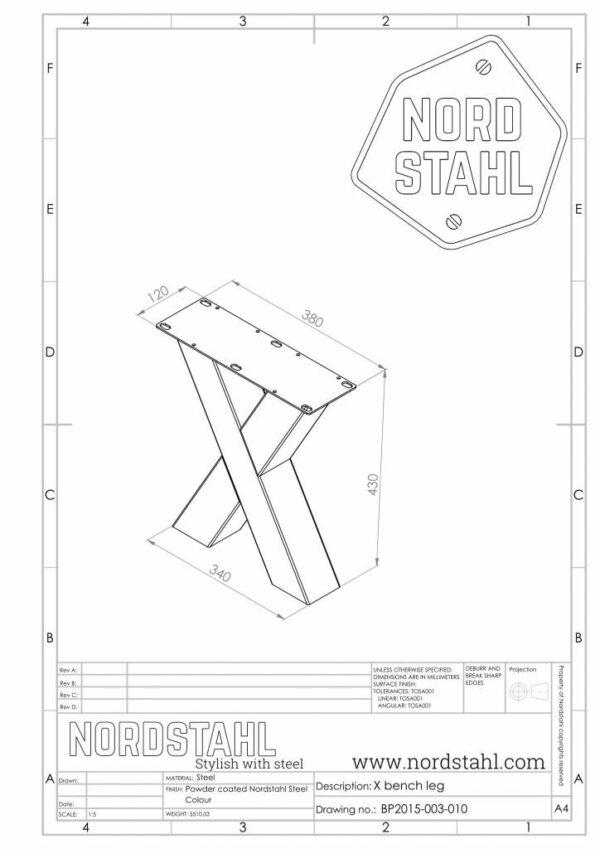 Nordstahl X benchleg technische tekening