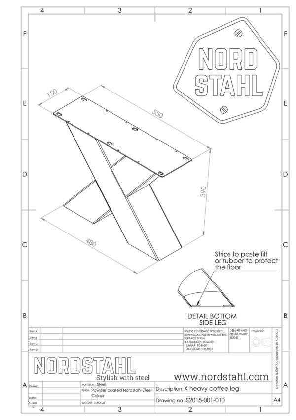 Nordstahl X coffee leg heavy technische tekening