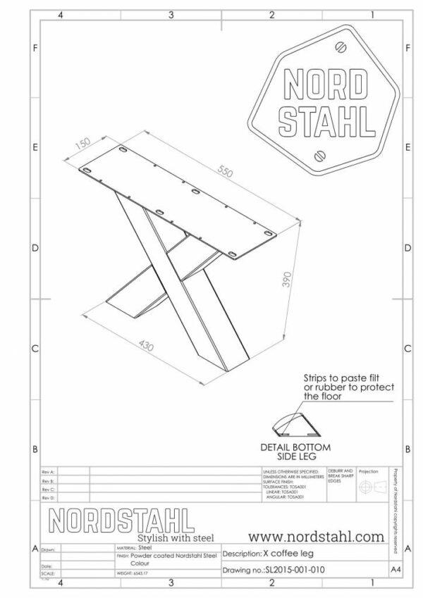 Nordstahl X coffee leg technische tekening