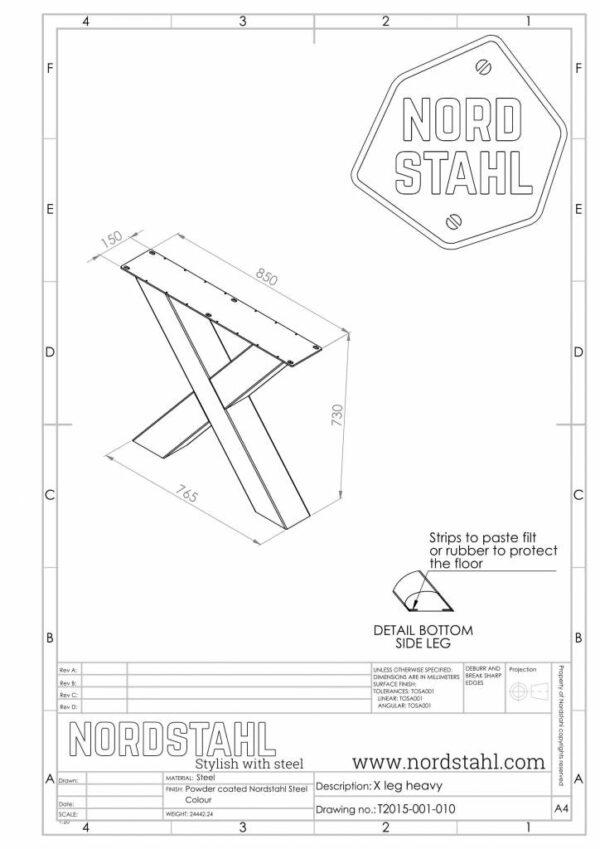 Nordstahl X leg heavy technische tekening
