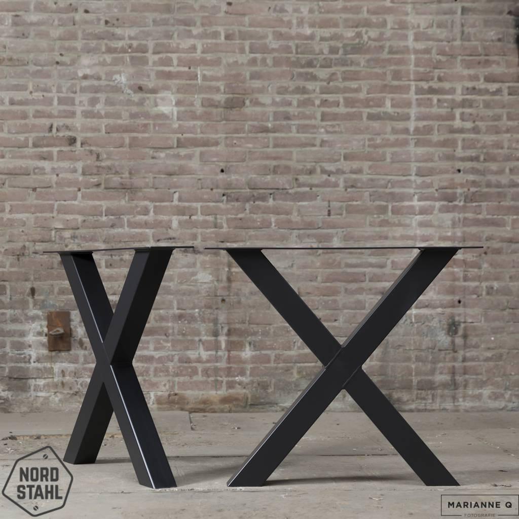 Nordstahl X leg zwart 2 stalen tafelpoten