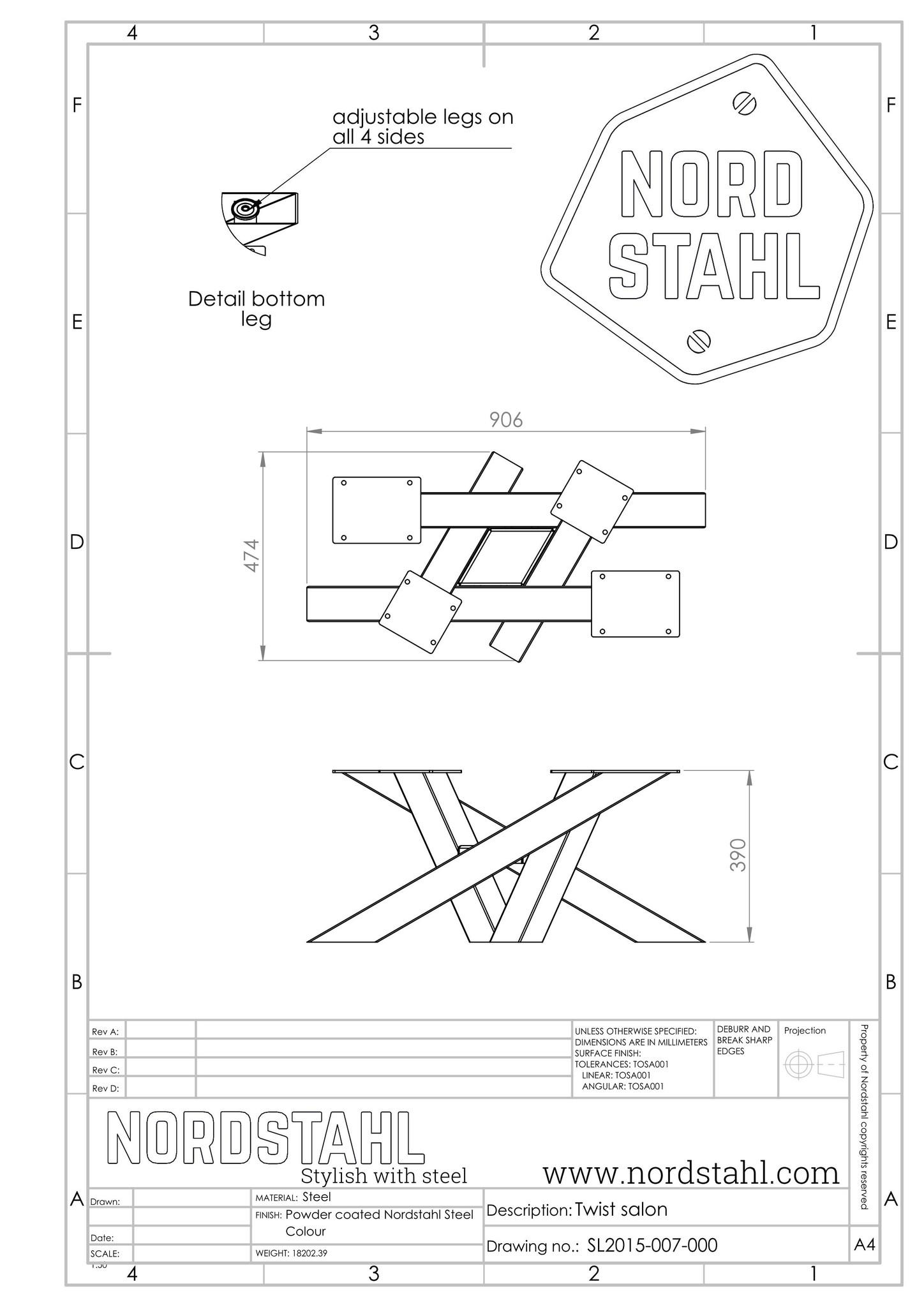 Nordstahl Twist coffee leg technische tekening